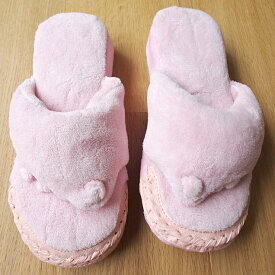 足つぼ五本指(5本指)スリッパ 洗えるパイル地 ユビゴロー ピンク/レディース 女性用