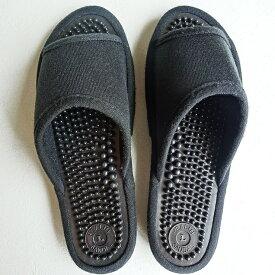 シンプル足つぼ健康サンダル ブラック(黒) 女性用 レディース〜24cm程度まで