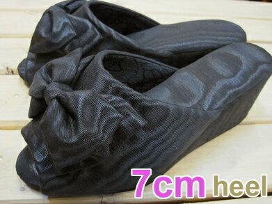 【最高クラスのヒール高!】モアレリボン ヒールスリッパ ブラック ヒール7cm/レディースM・Lサイズ【高級木ヒール使用・日本製】