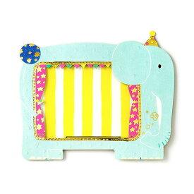 雑貨ブランドAIUEOのグリーティングカードになる写真立て☆ゾウの形でキラキラした柄がとってもかわいい!動物のデザイン♪アニマルフォトスタンド elephant(APS-03)