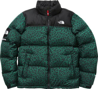 Supreme×THE NORTH FACE Nuptse Down Jacket green Leopard