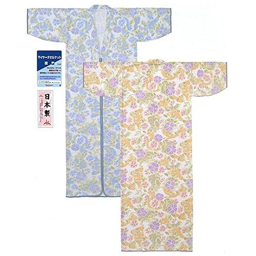 日本製マイヤータオルケット花柄プリント夜着(かいまき)日本で企画され、日本で生産されたものです
