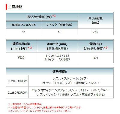 マキタ18V充電式クリーナーCL280FDFCWサイクロン付