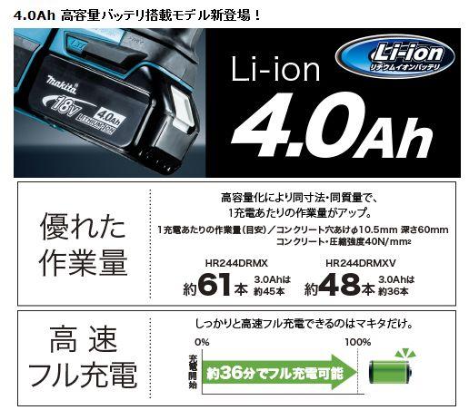 マキタ 24mm充電式ハンマドリル HR244DZK【送料無料】