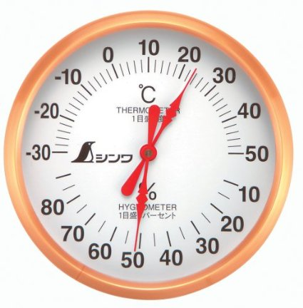 シンワ 温湿度計 丸型 U-1 10cm 72691