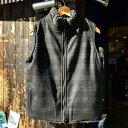 サイズ限定セール green clothing グリーンクロージング BOA VEST ボアベスト CHARCOAL BOAxBLACK CHECK 【ミッドレ…