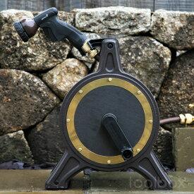 ホースリール「COSMO Bronze-1」(ブロンズリール BR4-XT20BRPL)【オリジナルデザイン おしゃれ 高品質 送料無料 散水 水まき 水やり 洗車 ホースリール20m 散水ホース】父の日にオススメ!かっこいい こだわり ホースリール