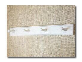 【英国 Creamore Mill】英国製 壁掛けフック「Pegrails/ホワイト・ペイント仕上げ」(オーク材・ホワイトペイント/4連)