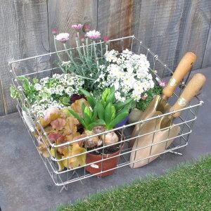 「ガーデニング・ステンレスカゴ Lサイズ」家庭菜園 収穫 花の苗 庭道具 ガーデンツール 収納 運搬 おしゃれ 日本製 職人 手作り サビにくい 庭いじり お庭