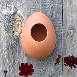 直輸入・正規品 英国(イギリス)製【テラコッタ製 バードフィーダー「卵の形のバードフィーダー 壁付けタイプ」】卵形 えさ皿 鳥のえさ台 野鳥 餌付け バードウォッチング 餌場