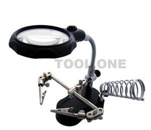 LED拡大鏡 両手が使える!!LEDライトでくっきり見える!!便利な拡大鏡・作業台・ハンダホルダー付き 約60mmレンズ