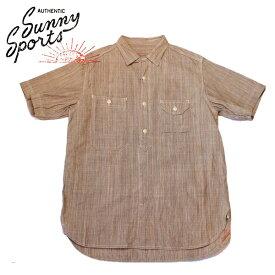 【SUNNY SPORTS(サニースポーツ)】 40'S WORK ORGANIC SHIRTS Short Sleeve Shirts 半袖シャツ VINTAGE ヴィンテージ オーガニックシャツ シャンブレーシャツ BEIGE ベージュ