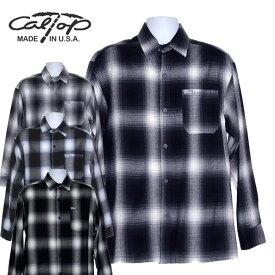 【CalTop(キャルトップ・カルトップ】 OMBRE CHECK L/S SHIRTS オンブレチェック 長袖シャツ オープンカラーシャツ 開襟シャツ アメリカ製 USA #2000LS ネルシャツ