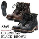 SWL【OB-8593CAR】スローウェアライオン/SLOW WEAR LION ブーツメンズ/メンズブーツ/ワークブーツ 黒/茶/ブラック/ブ…