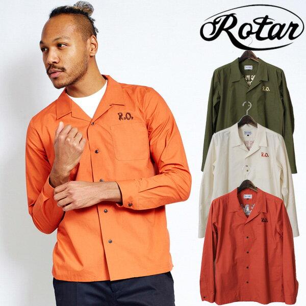 【ROTAR】 ローター R.O.MUSTER Open Collar Shirt オープンカラーシャツ 半袖 開襟シャツ 10P18Jun16