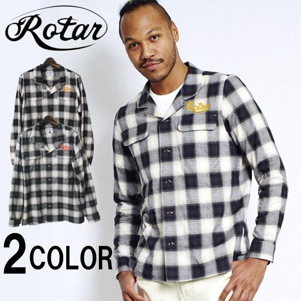 【ROTAR】 ローター Shearing Check Open Collar Shirt シャーリングチェックオープンカラーシャツ 開襟シャツ チェックシャツ 10P18Jun16