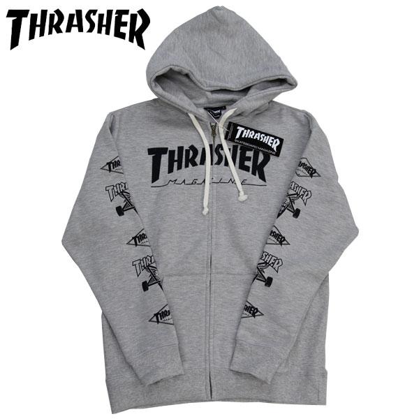 スーパーSALE【THRASHER】スラッシャーZIP HOODY ジップパーカー マグロゴ MAG LOGO 刺繍 GREY