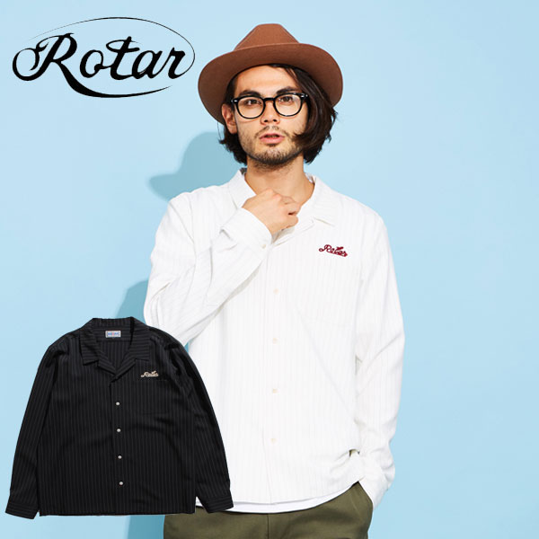 【ROTAR】 ローター Striped Stretch Open collar Shirt ストライプシャツ