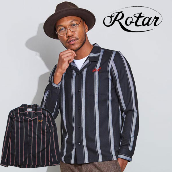 【ROTAR】 ローター Classic striped open color shirt ストライプシャツ