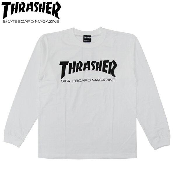スーパーSALE 30%OFFセール【THRASHER/スラッシャー】 ロングスリーブTシャツ MAG LOGO L/S TEE 長袖/ WHITE