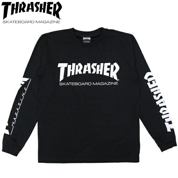 スーパーSALE 30%OFFセール【THRASHER/スラッシャー】 ロングスリーブTシャツ MAG LOGO 袖プリント L/S TEE 長袖/ BLACK