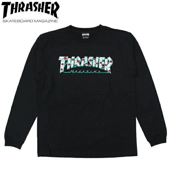 スーパーSALE 30%OFFセール【THRASHER/スラッシャー】 ロングスリーブTシャツ MAG LOGO+バラ L/S TEE 長袖/ BLACK