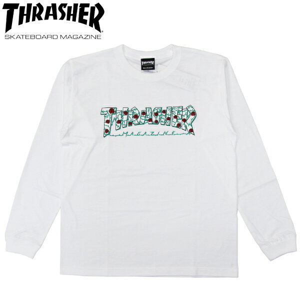 スーパーSALE 30%OFFセール【THRASHER/スラッシャー】 ロングスリーブTシャツ MAG LOGO+バラ L/S TEE 長袖/ WHITE