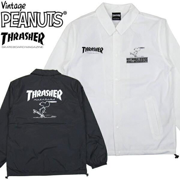 スーパーSALE【THRASHER(スラッシャー)】 THRASHER x PEANUTS SNOOPY コラボ COACH JKT スヌーピーコラボ コーチジャケット