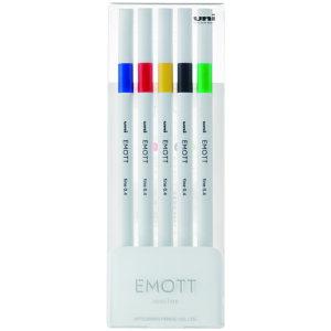 EMOTT(エモット) 水性サインペン 5色セット No.1 ビビッドカラー