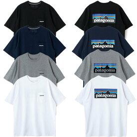 patagonia パタゴニア tシャツ 38512 レディース メンズ ユニセックス 半袖 P-6 ロゴ・ロゴ ポケット レスポンシビリティー 白 黒 グレー ネイビー