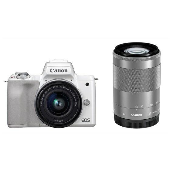 Canon キヤノン EOS Kiss M・ダブルズームキット (ホワイト) ミラーレスカメラ