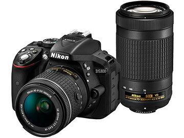 ニコン D5300 AF-P ダブルズームキット ブラック 一眼レフカメラ