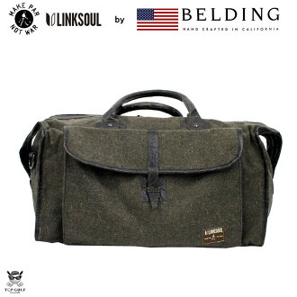 LINKSOUL 由贝尔丁链接灵魂由贝尔丁波士顿包棕色皮革 / 日本制造 | 旅游袋高尔夫球袋时尚酷经典