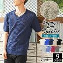 送料無料 サマーニット メンズ ニット Tシャツ 半袖 大きいサイズ 綿麻 リネン Vネック セーター 薄手 無地 フィッシ…