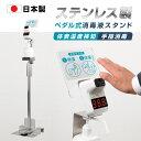 【2倍ポイント還元】[送料無料]【日本製】足踏み式 H1075mm 温度測定 消毒液スタンド ステンレス製 アルコール用ボト…