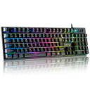ゲーミングキーボード 有線 7色LEDバックライト USB キーボード 日本語配列 パソコン用 防水 26キー防衝突 Windows/Ma…