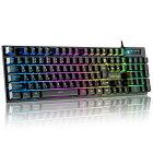 ゲーミングキーボード 有線 7色LEDバックライト USB キーボード 日本語配列 パソコン用 防水 26キー防衝突 Windows/Mac対応 106キー
