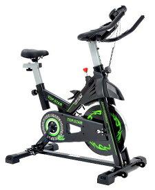 TOP.STAR フィットネスバイク スピンバイク 本格トレーニング マグネット制御式負荷 無音設計 心拍数測定 スマホトレー付き エクササイズ 室内運動器具 ジム用 メーカー保証1年 (黒+緑, 112)
