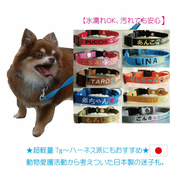 軽量迷子札 水に濡れても大丈夫な刺繍迷子首輪 Sサイズ 超小型犬 小型犬  名前入 名入れ 電話番号 ネーム首輪  首輪タイプの迷子札 迷子札付きチョーカー 刺繍の関係で首周り16cmから制作になります。