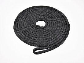 【係船ロープ】ダブルブレイド ポリエステル ブラックラインロープ 12mm 5m(アイスプライス加工)