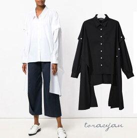 裾変形デザイン アシンメトリー ロングシャツ モード 長袖 ドレープ 黒 白 メンズ レディース 無地 大きいサイズ シャツワンピース 変形シャツ ロングスリーブ ナチュラル 変形ワンピ リボン 春服 夏服 大人可愛い