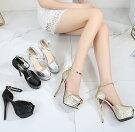キャバヒールサンダルヒール14cmキャバサンダルレディース靴キラキラちょう結びハイヒールピンビール靴ストラップサンダル歩きやすいヒール厚底ドレスキャバパーティー結婚式2次会22~24.5cmサイズ