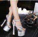 キャバサンダル 靴 キャバ サンダル キャバシューズ 厚底サンダル ヒール 17cm キャバ レディース 靴 キラキラ 結婚式…