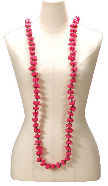 フラダンス衣装 レイ ハワイ 花飾り イベント フラ ハワイアンレイ ロングレイ PKL-04 ローズバドロングレイ ホットピンク
