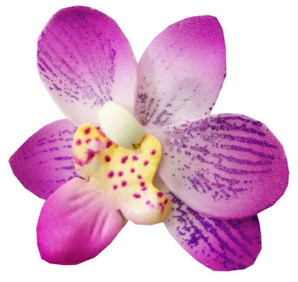 フラダンス衣装 髪飾り 花飾り プルメリア ヘアクリップ レイ イベント フラ CL-46  コロヘスモールオーキッドラベンダークリップ  パープル 紫