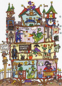Bothy Threads クロスステッチ刺繍キット 「Cut Thru' Magic School」 XCT31 魔法学校 クリスマス ボシースレッズ 【海外取り寄せ/納期40〜80日程度】