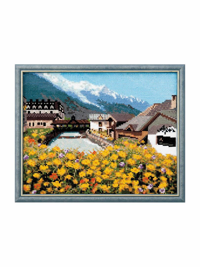 Cosmo(ルシアン) クロスステッチ刺繍キット No.712 「モンブランと麓の街並み」フランスの風景 シリーズ Paysages de France コスモ Lucian