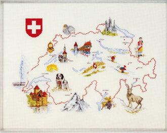监督和评价办公室十字绣绣套件 09817 地图瑞士瑞士瑞士丹麦刺绣制造商 ohrenschleager (O.Oehlenschlägers 方式。 / Oehlenschlager) 在织锦绣花套件和金额