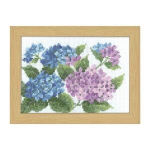 Olympusクロスステッチ刺繍キット 7512 「6月 アジサイ」 オリムパス 12ヶ月の花フレーム 紫陽花 あじさい