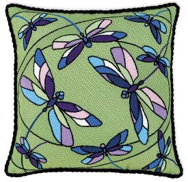 RIOLISクロスステッチ刺繍キット No.1655 「Cushion / Panel Stained Glass Window. Dragonflies」 (ステンドグラス窓 トンボ クッション33cm角/パネル) 【海外取り寄せ/納期30〜60日程度】